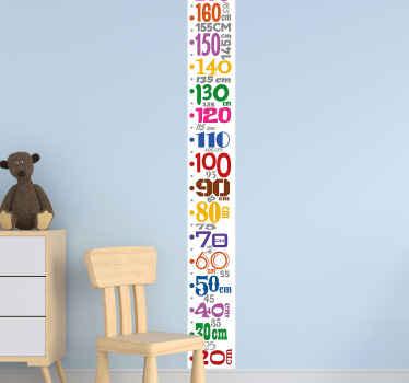 彩色数字仪表高度图贴花。一个可爱的设计,沿米的垂直表面具有各种数字。
