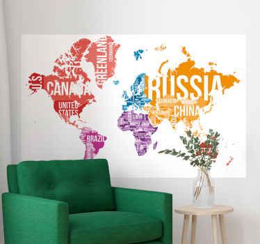 異なる背景色と異なる大陸の国の名前で作られた場所の世界地図ステッカー。適用が簡単で質が高い。
