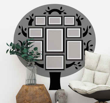 Decorative ornamental tree wall sticker designed in round style with photo frame outlines to place pictures. It is easy to apply and of good quality.
