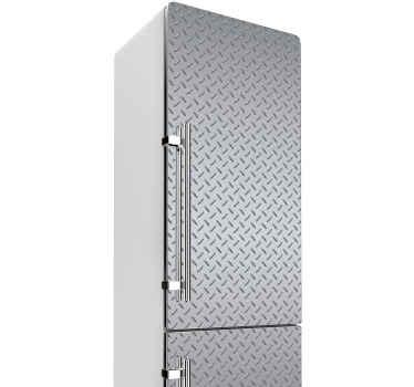 あなただけのキッチンスペースを驚くべき印象で完成させるためのスチールテクスチャデザインの驚くべき装飾的な冷蔵庫のデカール。