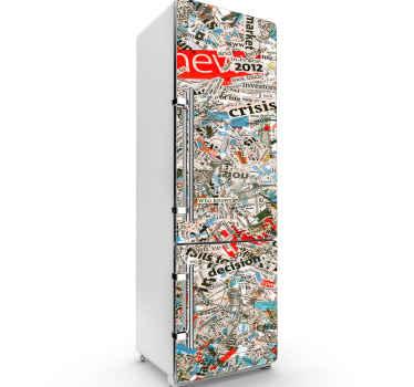 あなたの冷蔵庫スペースを飾るために雑誌や新聞テクスチャ装飾冷蔵庫ステッカー。適用が簡単で高品質です。