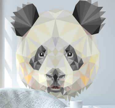 Decorative panda wall art sticker designed in geometric pattern style. It is easy to apply on flat surface and of high quality vinyl.