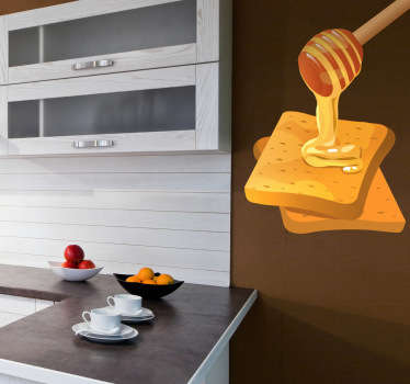 Wall Stickers - Decals - Illustration of two golden toasted slices of bread being covered in sweet honey.