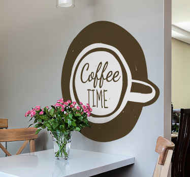Beautiful coffee drink wall sticker to decorate your kitchen space in a special way. It has the design of a coffee cup with the text '' coffee time'.