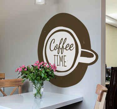 """čudovita stenska nalepka za pijačo za kavo, da na poseben način okrasite svoj kuhinjski prostor. Ima obliko skodelice za kavo z besedilom """"čas za kavo""""."""