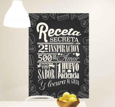 Vinilo para cocina de receta con valores para que decores tu cocina y la llenes de sabiduría. Diseño blanco y negro ¡Descuentos disponibles!