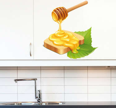 Wall Stickers - Decals - Illustration of a slice of bread being covered in sweet honey. Ideal for homes or businesses such as cafes and restaurants.
