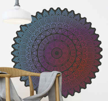 Blue and red mandala wall sticker. An elegant and original form to decorate any room in your home This sticker is shaped and without background.