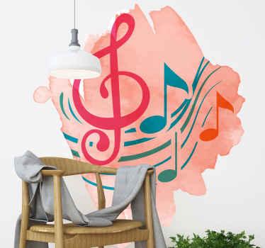 音符と記号の装飾的な音楽テーマウォールステッカーデザイン。スイカ色を背景にしたカラフルなデザイン。
