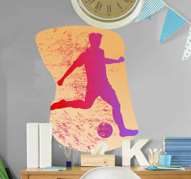 Decorative sport player wall art stickerdesign silhouette of a footballer on a playing position with a ball. The product is easy to apply.