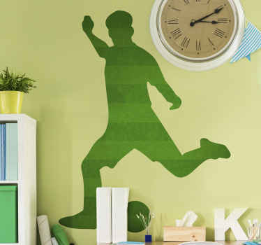 Football player wall art sticker design with the featured silhouette of a footballer on a playing position. The design is easy to apply.