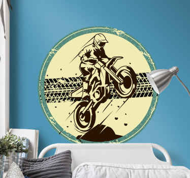 Motorbike wall sticker design of a motorbike riding on a bike. The design is easy to apply and made of high quality vinyl.
