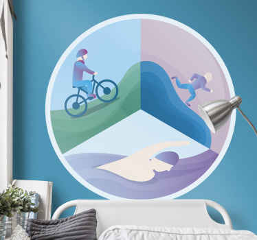 An Olympic wall sticker design of triathlon sport.  It design comprise of a swimmer, a cyclist and a runner. It is easy to apply and of quality.