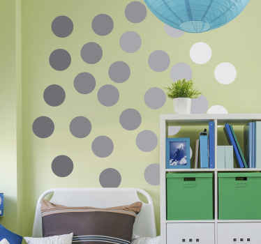 Geometric gray circles sticker for children bedroom decoration. This design is amazing to create an appealing impression on the wall space of kids.