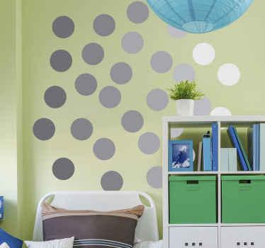 Nalepka z geometrijskimi sivimi krogi za dekoracijo spalnice za otroke. Ta zasnova je neverjetna, da ustvari privlačen vtis na stenskem prostoru otrok.