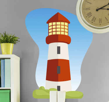 Maravilloso vinilo para niños de faro dibujado con el que podrás decorar su cuarto y dejar que vuele su imaginación ¡Descuentos disponibles!