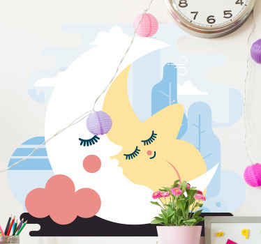 Children illustrative wall sticker design of moon and star in an emoji smiley style. It is easy to apply and made of high quality vinyl.