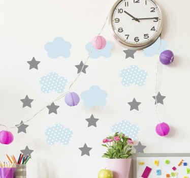 子供のための素晴らしい印刷された星の例示的なスペースウォールステッカーデザイン。子供の寝室の装飾に最適です。どのサイズでもご利用いただけます。