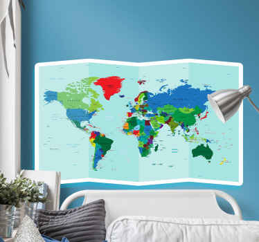 あなたのスペースのためのカラフルな地理的な世界地図デカールは、世界の位置の詳細な表現でデザインが特徴です。