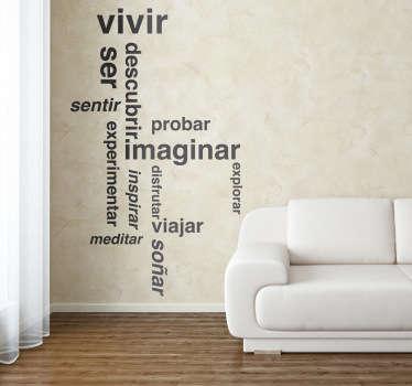 Original Adhesivo decorativo para tu salón sobre pensamientos, reflexiones o ideas positivas. Adorna y expresa tus sentimientos más profundos con palabras.