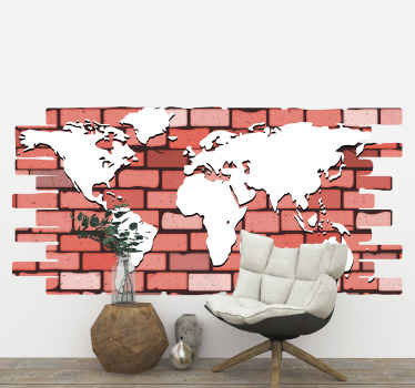 Decorate your home or office space with our outstanding geographic would map sticker design created in a  red brick wall textured pattern design.