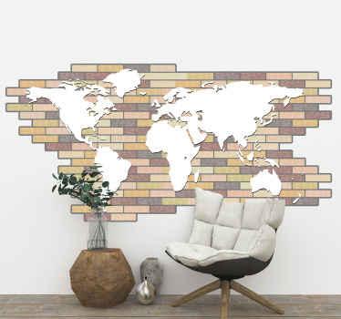 レイヤードレンガの壁の背景パターンでデザインされた素敵な地理的な世界地図ステッカー。それはあらゆるスペースに素敵で、オリジナルで簡単に適用できます。