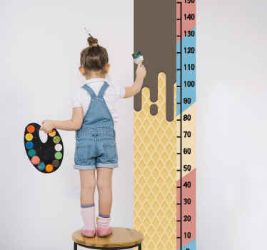 Our ice cream yummy texture meter height chart sticker for children bedroom decoration. It is self adhesive, original and easy to apply.