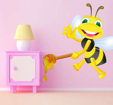 Fun kid's wall sticker showing a bumble bee bringing honey to his friends while smiling and waving, from our collection of bee wall stickers. This cute cartoon wall sticker is perfect for creating a warm and loving atmosphere in your child's room.
