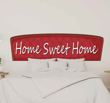 Simple decorative text sticker design  of 'Home sweet home'' that can be decorated on any space in a house. It has a red background with stylist text.