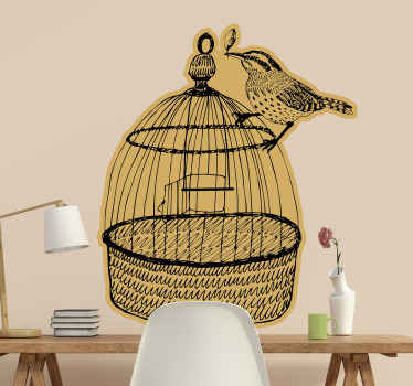 Bird cage wall art sticker decoration for homes and for any other space of choice. The product is self adhesive and easy to apply.