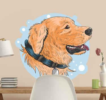 描画スタイルで作成された装飾的なラブラドール犬の壁のステッカーデザイン。デザインは、選択した任意のスペースに適しています。それは自己接着です。
