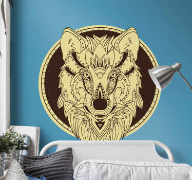 Decorative wolf animal wall decaldesigned with boho style. It is decorative on any flat surface. Available in any required size and self adhesive.