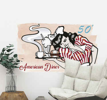 A decorative kitchen wall sticker with the design of a waitress serving meal. An ideal decoration for restaurants and home. Available in any size.