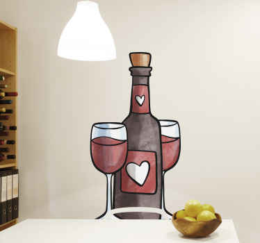 Decorative drink wall decal for kitchen created with the design of a wine bottle with glasses and heart shape. It is available in various sizes.