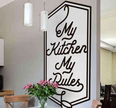 スタイリストの背景にデザインされた装飾的なキッチンウォールテキストステッカー。