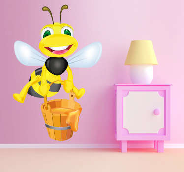 Kids Stickers - A fun and playful illustration of a honey bee carrying a bucket of golden honey. Ideal for decorating kids bedrooms and play areas and creating a pleasant and unique atmosphere.