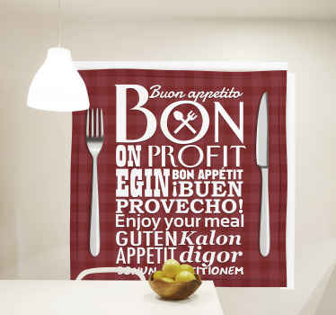 Home wall text wall art sticker designed on a square red background with ''Enjoy your meal'' text inscription in different languages.