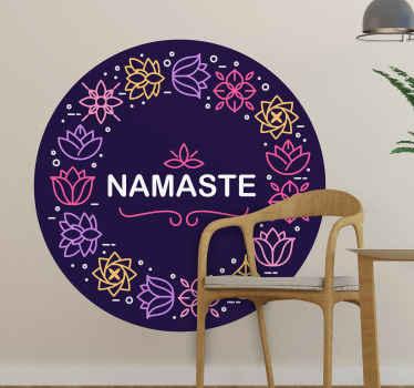 さまざまな装飾用の花のデザインと「ナマステ」テキストの丸い背景のスタイルに設計された花の壁アートステッカー。