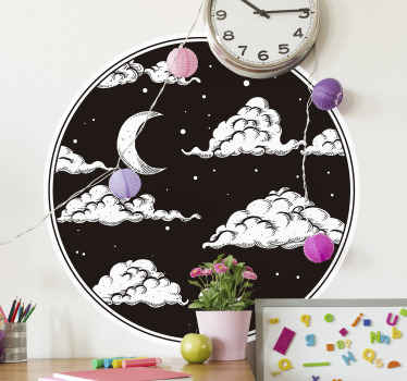 A decorative illustrative space wall decal featured on a round black background, hosting clouds, moon andstars. Easy to apply and of best quality.