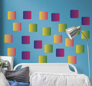 Lovely geometric squares sticker in rainbow colors that can be used to decorate the bedroom space of a kid. It is available in any size required.