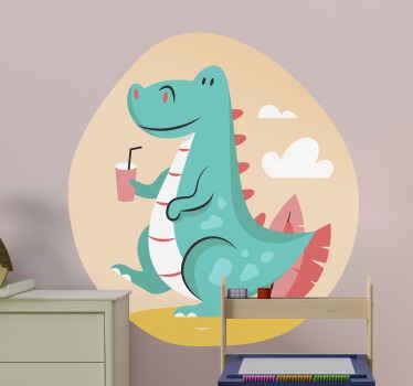 漫画のスタイルでデザインされた子供のための装飾的な恐竜の壁のステッカー。特に寝室用に子供たちのスペースを楽しくするデザイン。