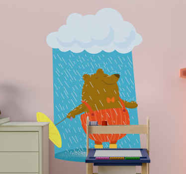 A fun and interesting decorative kids wall sticker created with the design of a bear in the rain. It is easy to apply and of good quality.