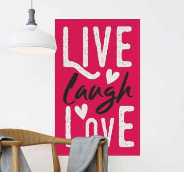 モチベーションとインスピレーションを与えるタッチで空間を飾るためのモチベーションテキストビニールステッカー。それは「生き、笑い、愛」と書かれています。