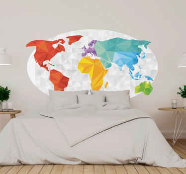 Geometric pattern world map sticker decoration for your home and office spade. It is available in any required size and very easy to apply.