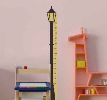 Children height chart wall sticker with meter calibration and streetlight design along it vertical surface. It is easy to apply and of good quality.