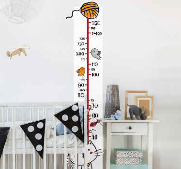 Decorative animal meters height chart wall sticker to decorate the bedroom space of children. It is self adhesive and easy to apply.