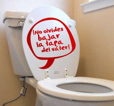 Decora tu lavabo con un divertido adhesivo donde se recuerda al usuario de la taza del WC que sea cuidadoso. Este vinilo decorativo hará de tu baño un sitio más divertido con este toque de humor que al mirar todos se reirán .