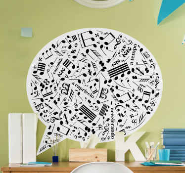 Musical notes wall art decal designed on a roundsymbolic chat background. An amazing design for any flat surface. Easy to apply and of high quality.