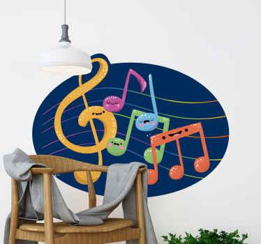 カラフルな音楽とノートとシンボルの丸い深い青色の背景に設計された子供のための音楽ノート壁ステッカー。