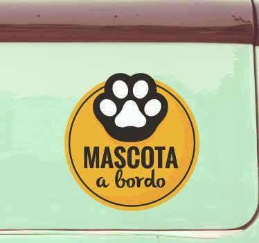 Pegatina perros a bordo para pegar en un vehículo que transporte un perro o cualquier mascota. Elige medidas ¡Envío a domicilio!